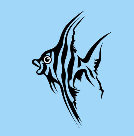 fish silhouette on blue background, vector illustration Stock Vector - 12597194