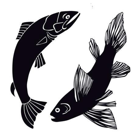 pez abstracto: conjunto de los peces en el fondo blanco, ilustraci�n vectorial Vectores