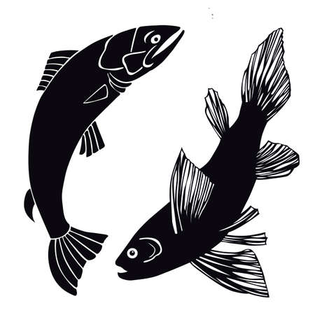 outline fish: set of fish on white background, vector illustration Illustration