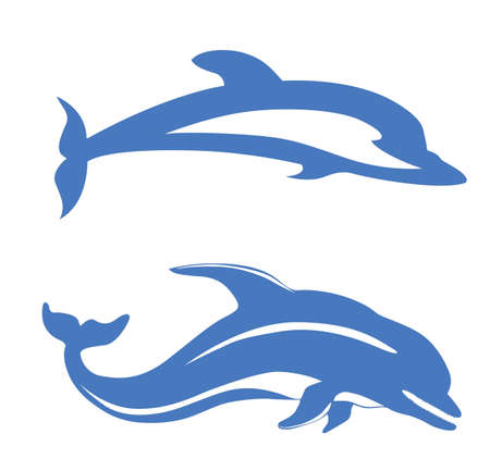 outline drawing of fish: two dolphins on white background, vector illustration Illustration