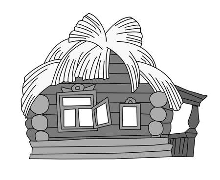 rural house drawing on white background, vector illustration Vector