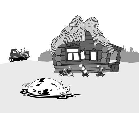 pig against rural building, vector illustration Vector