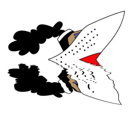 sinking nave on white background, vector illustration Vector