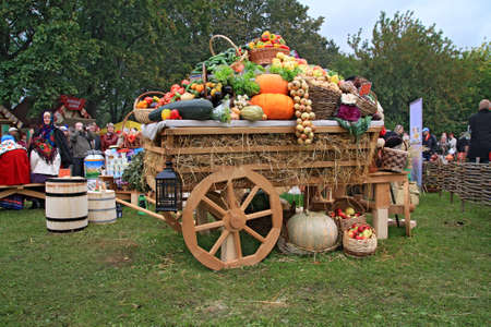 fruits and vegetables in cart on rural market