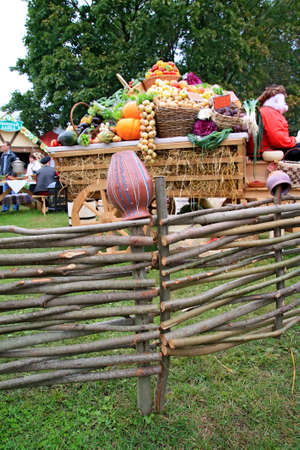 fruits and vegetables in cart on rural market photo