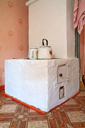 brick stove in rural wooden house