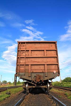 railway freiht-car on rural station  Stock Photo - 12596865