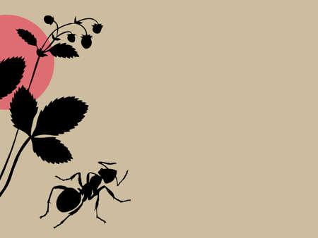 black ant on brown background, vector illustration Vector