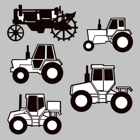 tractor silhouette on gray background, vector illustration Vector