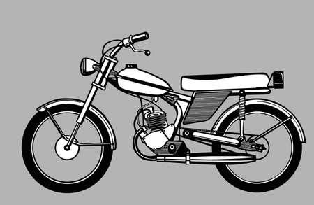 ciclomotore silhouette su sfondo grigio, illustrazione vettoriale