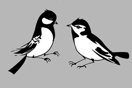 birds silhouettes on gray background, vector illustration Illustration