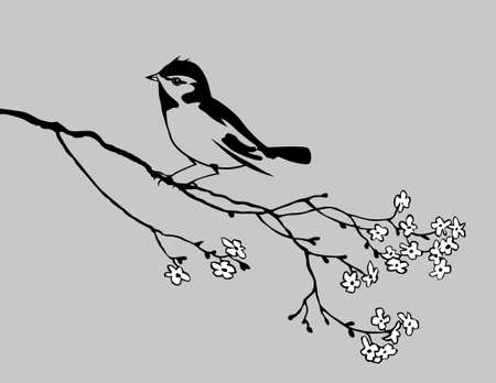 bird silhouette on gray background, vector illustration Stock Vector - 12881137