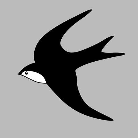 swallow silhouette on gray background, vector illustration Vector