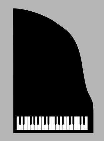 grand piano: piano silhouette on gray background, vector illustration