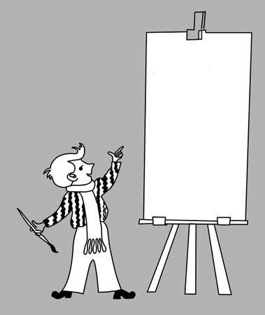 piccolo artista su sfondo grigio, illustrazione vettoriale