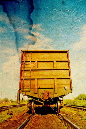 railway coach on grunge background photo