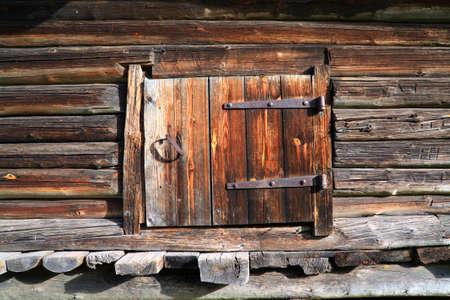 wooden door in rural barn photo