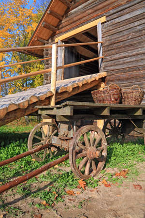 aging cart near rural stable photo