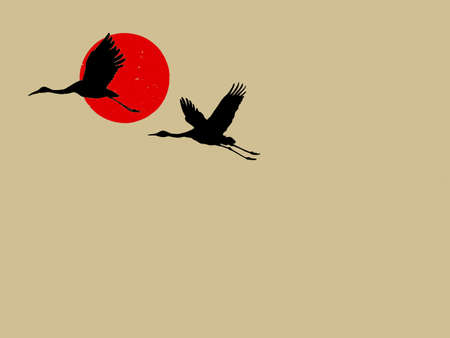 two cranes on brown background, vector illustration Vector