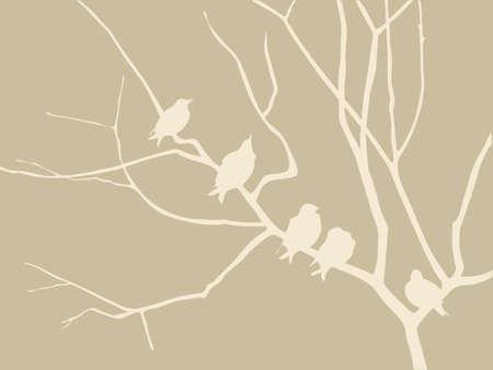 vogels silhouet op bruine achtergrond, vector illustratie Vector Illustratie