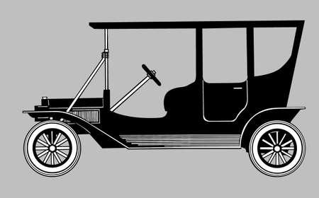 retro car silhouette on gray background, vector illustration Stock Vector - 13033299