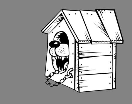 teeths: dog in kennel on gray background, vector illustration