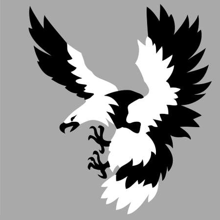 steppe: eagle drawing on gray background, vector illustration Illustration