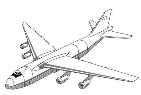 view from the plane: plane silhouette on white background, vector illustration