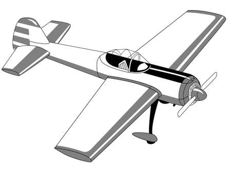 glider: plane drawing on white background, vector illustration