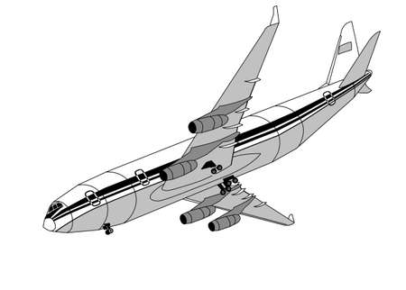 view from the plane: plane silhouette on gray background, vector illustration Illustration