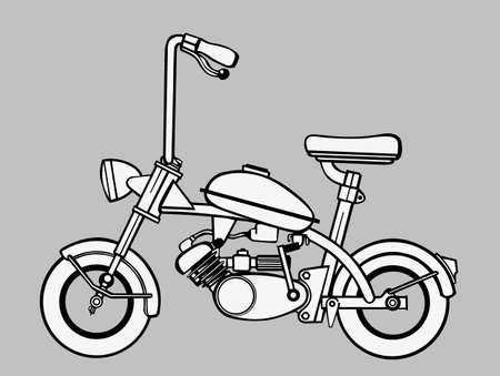 moped: moped silhouette on gray background, vector illustration Illustration