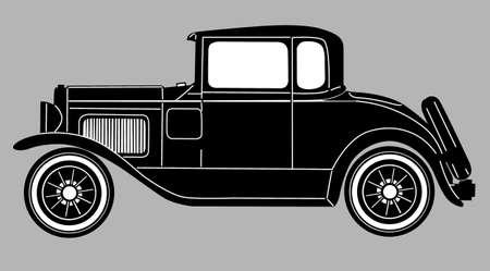 prestige car: retro car on gray  background, vector illustration