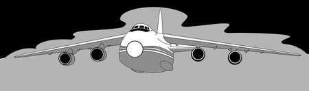 plane silhouette on gray  background, vector illustration Vector