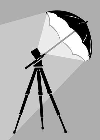 monolight: tripod silhouette on gray  background, vector illustration Illustration