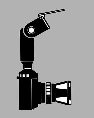 slr camera: camera silhouette on gray  background, vector illustration