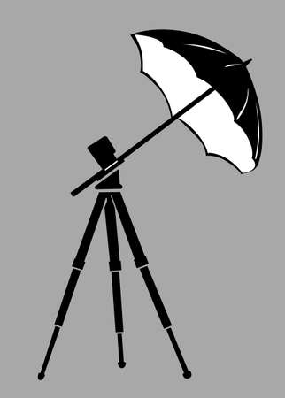 strobe light: tripod silhouette on gray  background, vector illustration Illustration