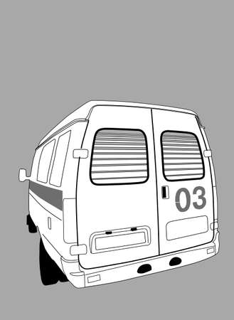 car to ambulance on gray background, vector illustration Vector