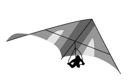boldness: deltaplane on white background, vector illustration