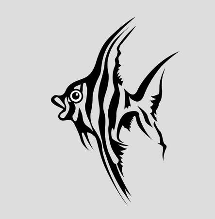 fish silhouette on gray background, vector illustration Vector