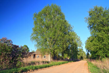 penal institution: sandy road in abandoned village