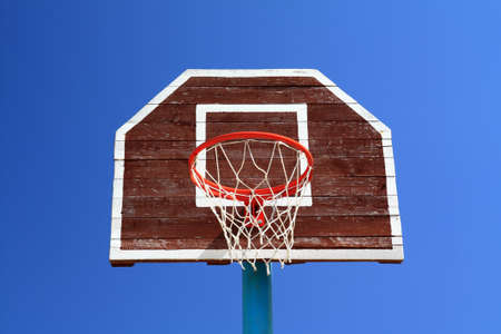 basketball ring on blue background photo