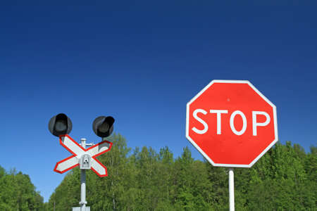 traffic sign on railway stations photo