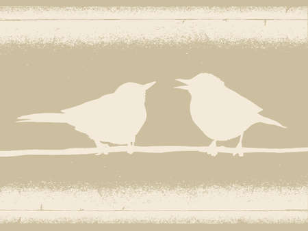 birds silhouette on brown background, vector illustration Vector