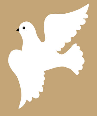 dove silhouette on brown background, vector illustration Vector