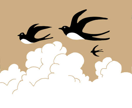 swallows in sky on cloudy background, vector illustration Illustration
