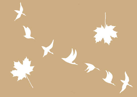 crane in sky on brown background, vector illustration Vector