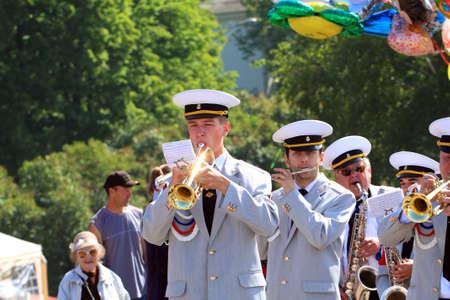 VELIKIJ NOVGOROD, RUSSIA - JUNE 10: military orchestra on street at day Veliky Novgorod, Russia at June 10, 2012