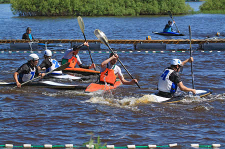 VELIKIJ NOVGOROD, RUSSIA - JUNE 10: The second stage of the Cup of Russia in canoe polo in Velikij Novgorod, Russia at June 10, 2012