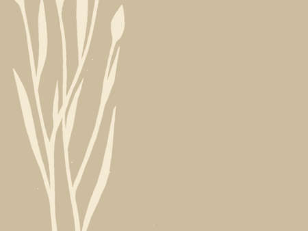 spoiled frame: plant silhouette on brown background, vector illustration