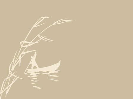 persons in boat on brown background, vector illustration Vector